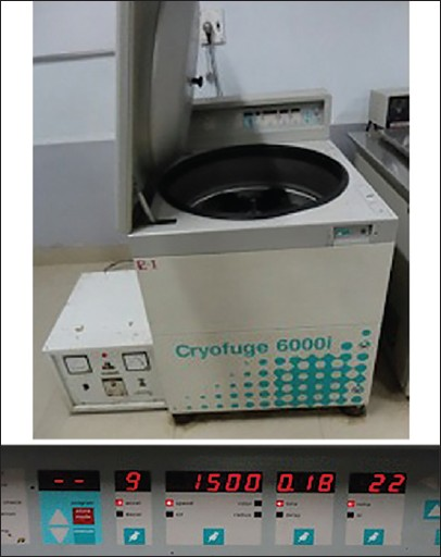 Figure 1: Cryofuge 6000i; 1,500 rpm at 22°C